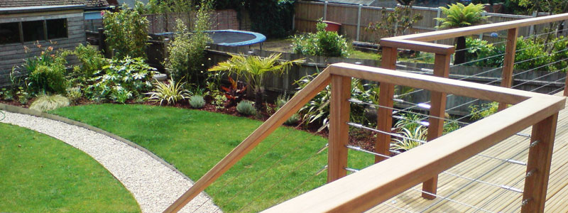 Raised decking area over looking garden and gravel path